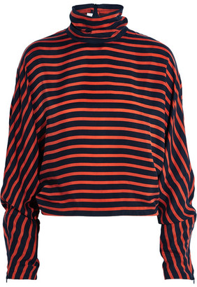 McQ Alexander McQueen - Striped Crepe De Chine Turtleneck Top - Red $450 thestylecure.com