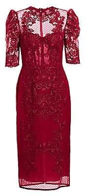 ZUHAIR MURAD Women's Lace & Mesh Illusion Midi Dress