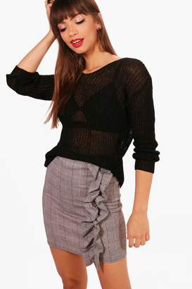 boohoo Jessica V-Neck Loose Knit Oversized Jumper