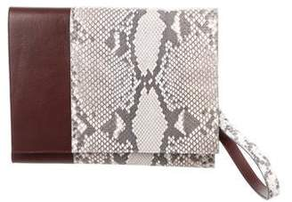 Yigal Azrouel Leather & Python Clutch w/ Tags