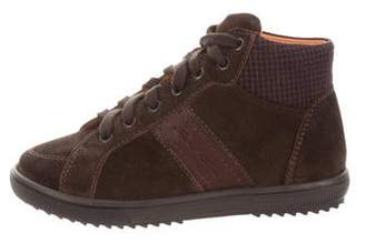 Santoni Boys' Suede Round-Toe Boots w/ Tags