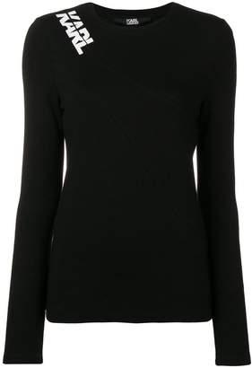 Karl Lagerfeld logo shoulder jersey top