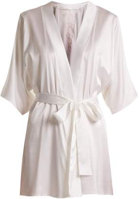 Fleur of England Colette lace-detail silk-blend short robe