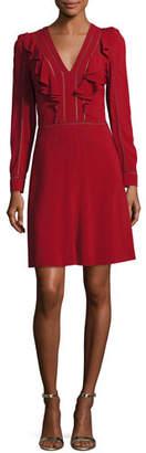 Roberto Cavalli Long-Sleeve V-Neck Ruffle Dress, Crimson