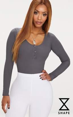 PrettyLittleThing Shape Charcoal Ribbed Long Sleeve Bodysuit