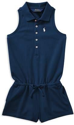 Polo Ralph Lauren Girls' Mesh Polo Romper - Little Kid