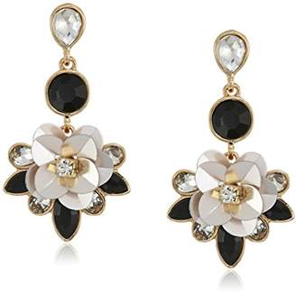 GUESS Floral La Femme Women's Sequin Flower Drop Earrings With Stones