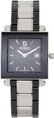 Fendi F631110 Silver-Tone & Black Ceramic Watch