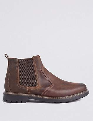 Marks and Spencer Big & Tall Leather Pull-on Chelsea Boots