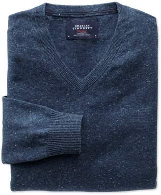 Charles Tyrwhitt Indigo Cotton Cashmere V-Neck Cotton/Cashmere Sweater Size XS