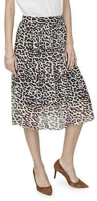 Vero Moda Leopard Print Mesh Midi Skirt