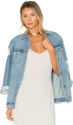 GRLFRND Daria Oversized Denim Trucker Jacket $288 thestylecure.com