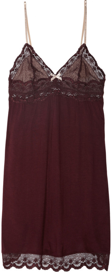 Eberjey Giovanna jersey and lace chemise