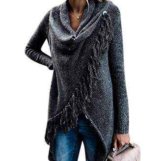 736d68c2c241 Z Women Long Sleeve Loose Tunic Knitted Poncho Cape Tassel Pullover Jumper