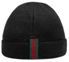 Gucci Boy's Knit Web Trim Beanie Hat