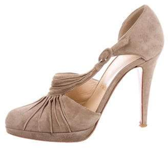 Christian Louboutin Suede Ruched Pumps