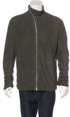 Rick Owens Asymmetrical Lamb Suede Jacket