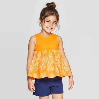 Cat & Jack Toddler Girls' Pineapple Knit Woven Blouse - Cat & JackTM Orange