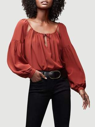 Frame Tie Up Silk Peasant Top