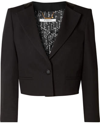 Givenchy Cropped Wool-crepe Blazer - Black