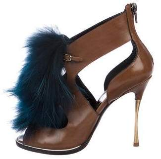 Nicholas Kirkwood Fur Trim Leather Booties