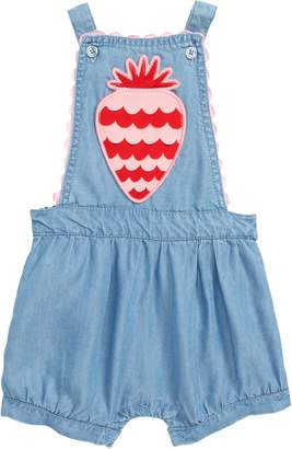 Seed Heritage Scallop Strawberry Chambray Romper