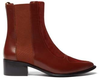 Loewe Point Toe Suede And Leather Chelsea Boots - Womens - Dark Tan