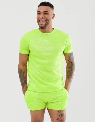 Asos Design DESIGN Festival two-piece relaxed t-shirt in neon sequins