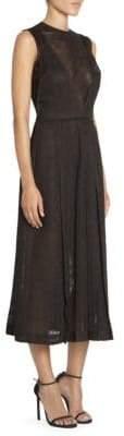 Victoria Beckham Women's Pleated Windowpane Midi Dress - Black - Size UK 12 (8)