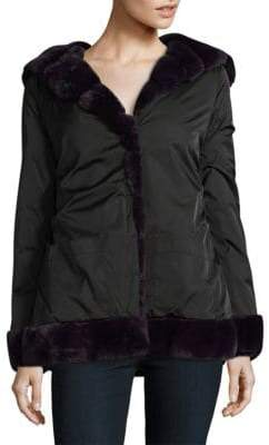 Laundry by Shelli Segal Faux Fur Lined Hooded Coat