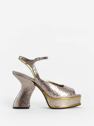 a2eaae65db76 Dries Van Noten WOMEN S SILVER SNAKESKIN PATTERN HIGH-HEELED SANDALS