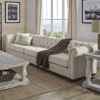 Three Posts Gowans 5-Seater Button-Tufted Chesterfield Sofa