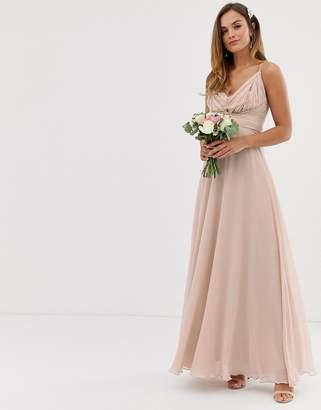 67244661249fc Asos Design DESIGN Bridesmaid cami wrap tie waist maxi dress with layered  skirt