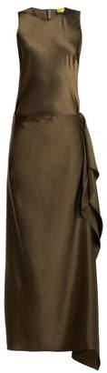 Albus Lumen - Hermosa Detachable Skirt Silk Dress - Womens - Dark Green