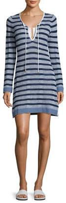 Tommy Bahama Linen-Blend Striped Tunic Sweater Coverup, White Pattern $98 thestylecure.com