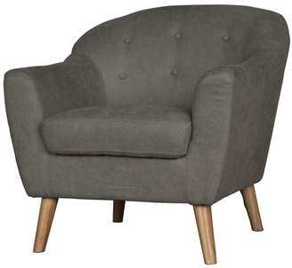 Incadozo Mid Century Modern Bucket-Style Accent Chair in Light Gray