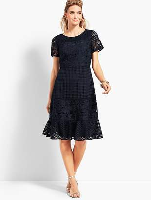 Talbots Mixed Lace Fit-And-Flare Dress