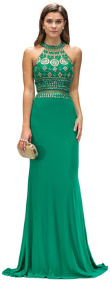 Dancing Queen - Long Sleeveless Open Back Dress with Beaded Bodice 9224 $130 thestylecure.com