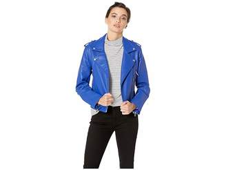 Blank NYC Vegan Leather Moto Jacket in Blue My Mind
