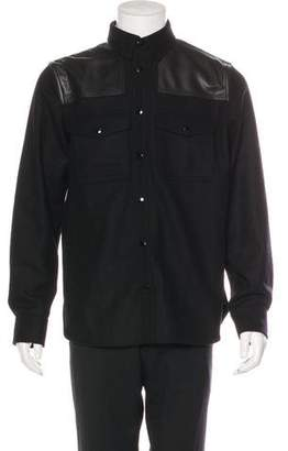 Rag & Bone Leather-Trimmed Wool Shirt Jacket