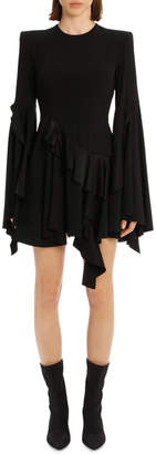 Ridgley - Satin Crepe Long Sleeve Ruffle Mini