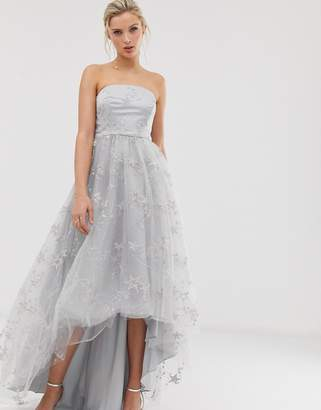 Dolly & Delicious bandeau high low prom maxi dress with star embroidery in silver