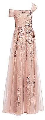 Teri Jon by Rickie Freeman Women's One-Shoulder Tulle Gown