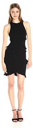 Nicole Miller Women's Structured Heavy Jersey Ruffle Dress