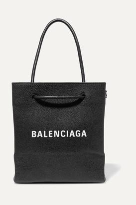 Balenciaga Xxs Printed Textured-leather Tote - Black