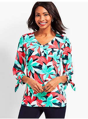 Talbots Tie-Sleeve V-Neck Top-Tropical Floral
