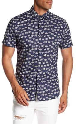 Slate & Stone Modern Fit Lotus Print Button Short Sleeve Shirt