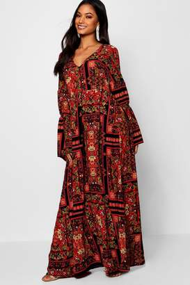boohoo Bohemian Print Flared Sleeve Maxi Dress