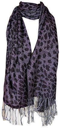 Purple Leopard Print Scarf