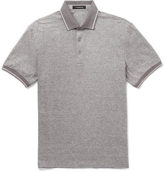 Ermenegildo Zegna Contrast-Tipped Cotton and Linen-Blend Polo Shirt - Men - Gray